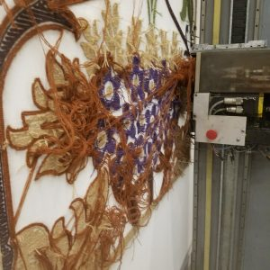 Wilcom AutoTuft single needle robotic tufting machines. Mechanical head. WS2275